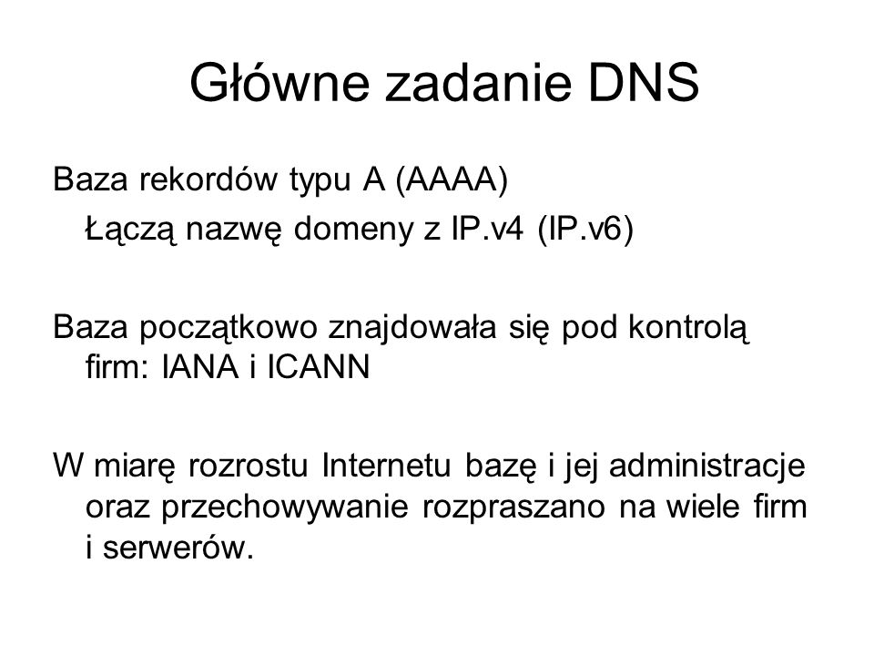 Główne zadanie DNS Baza rekordów typu A (AAAA)