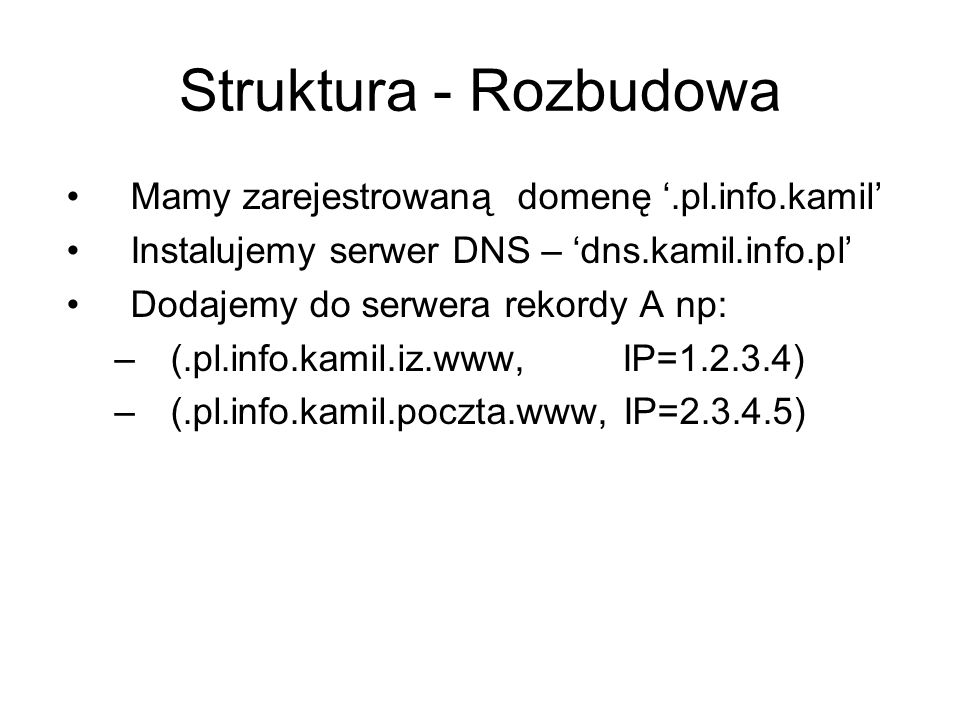 Struktura - Rozbudowa Mamy zarejestrowaną domenę '.pl.info.kamil'