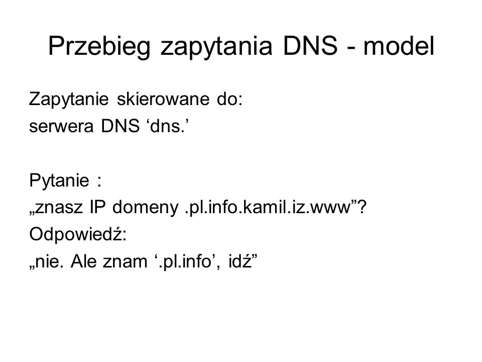 Przebieg zapytania DNS - model