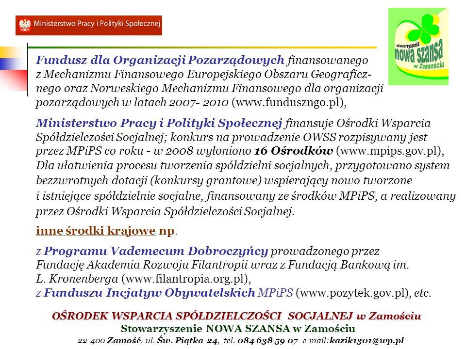 Fundusz dla Organizacji Pozarządowych finansowanego z Mechanizmu Finansowego Europejskiego Obszaru Geograficz- nego oraz Norweskiego Mechanizmu Finansowego dla organizacji pozarządowych w latach 2007- 2010 (www.funduszngo.pl),