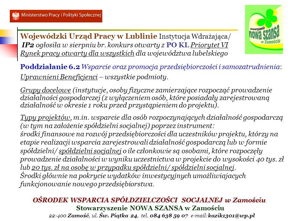 Wojewódzki Urząd Pracy w Lublinie Instytucja Wdrażająca/ IP2 ogłosiła w sierpniu br. konkurs otwarty z PO KL Priorytet VI Rynek pracy otwarty dla wszystkich dla województwa lubelskiego