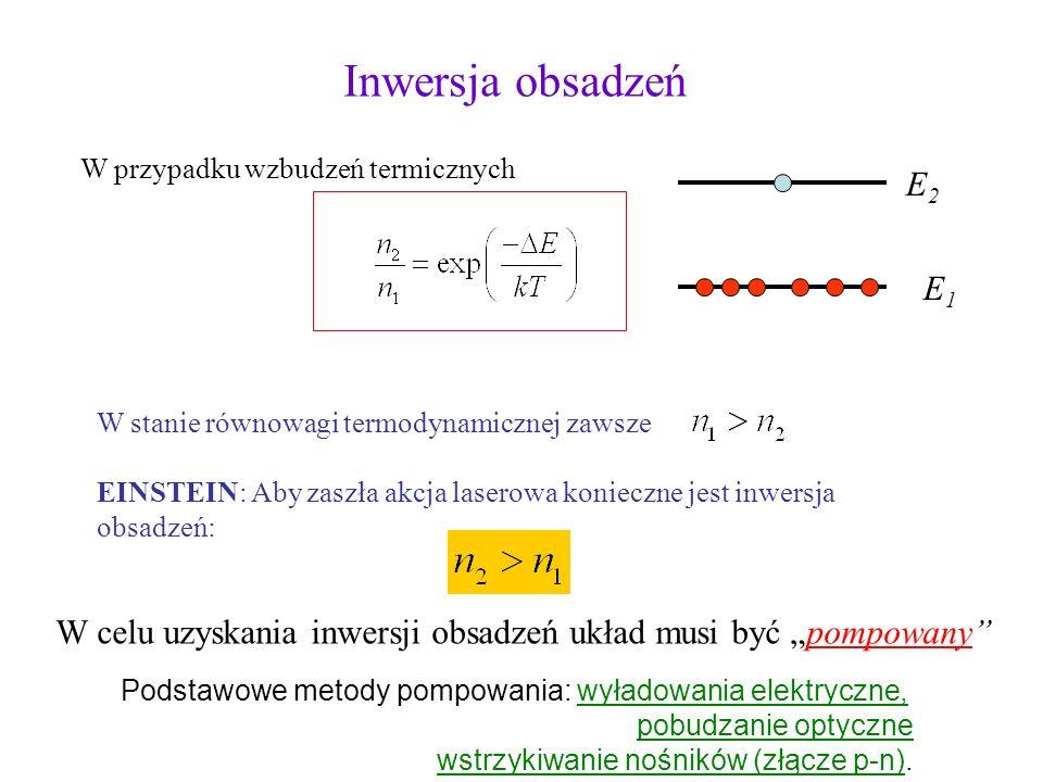 Inwersja obsadzeń W przypadku wzbudzeń termicznych. E1. E2. W stanie równowagi termodynamicznej zawsze.