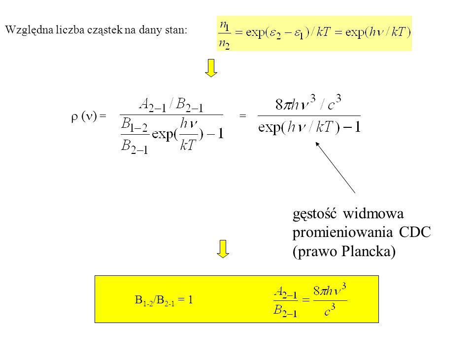 gęstość widmowa promieniowania CDC (prawo Plancka)