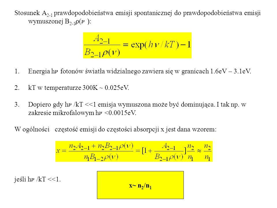 Stosunek A2-1 prawdopodobieństwa emisji spontanicznej do prawdopodobieństwa emisji wymuszonej B2-1r(n ):