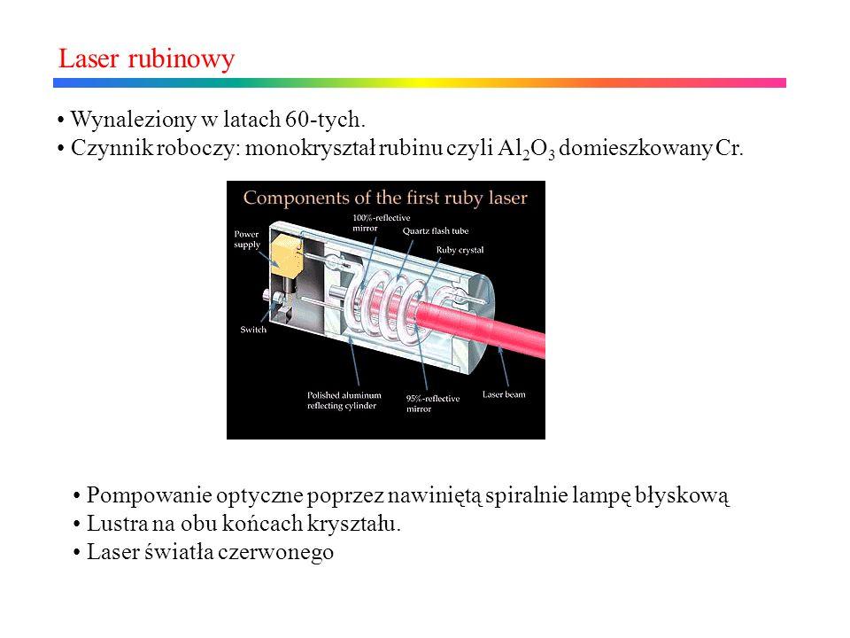 Laser rubinowy Wynaleziony w latach 60-tych.