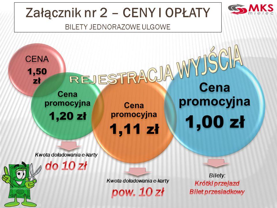 REJESTRACJA WYJŚCIA Załącznik nr 2 – CENY I OPŁATY do 10 zł pow. 10 zł