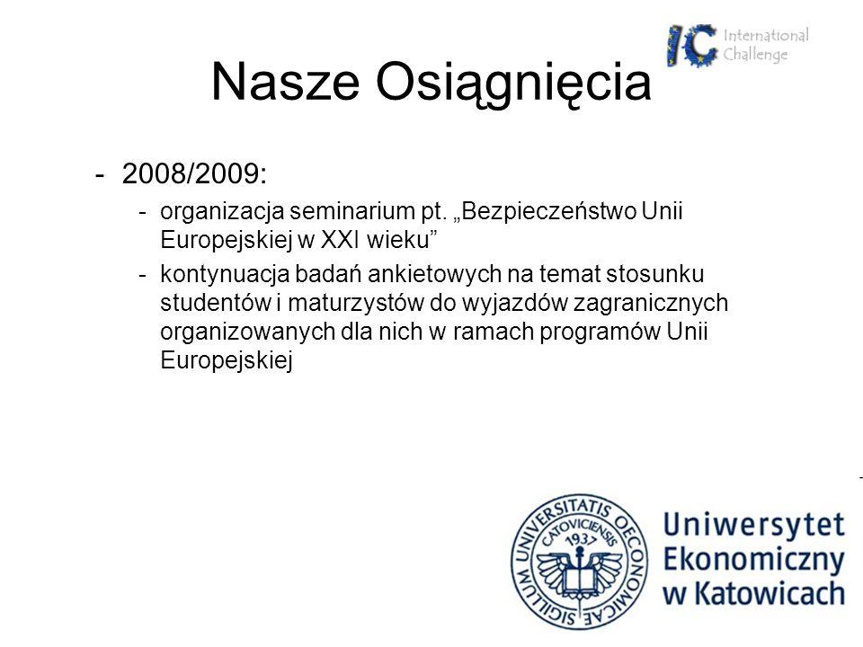 """Nasze Osiągnięcia 2008/2009: organizacja seminarium pt. """"Bezpieczeństwo Unii Europejskiej w XXI wieku"""