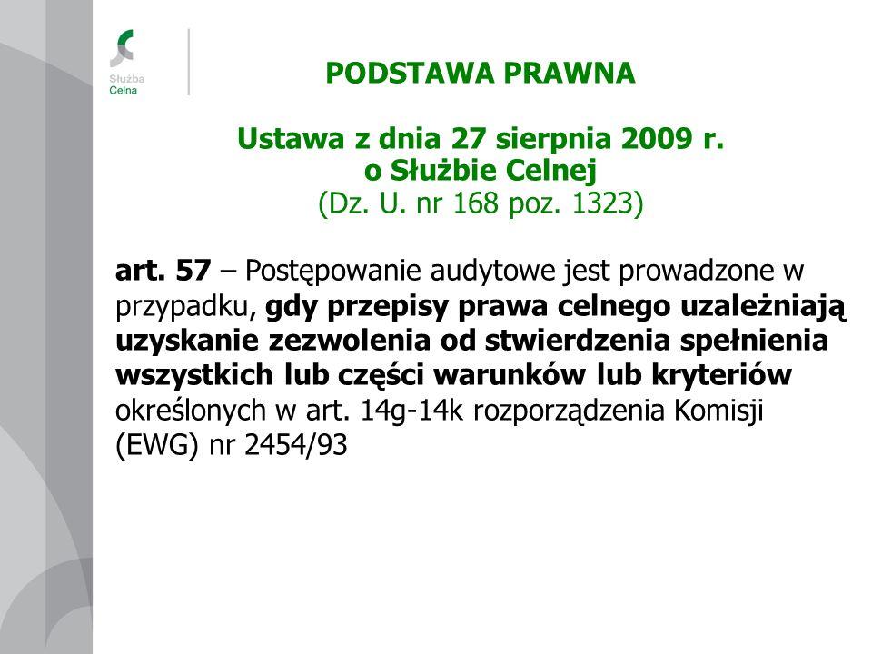 Ustawa z dnia 27 sierpnia 2009 r. o Służbie Celnej