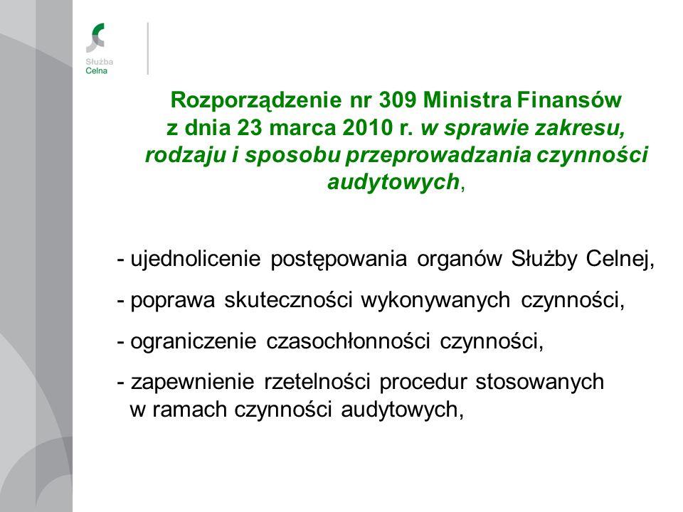 Rozporządzenie nr 309 Ministra Finansów z dnia 23 marca 2010 r