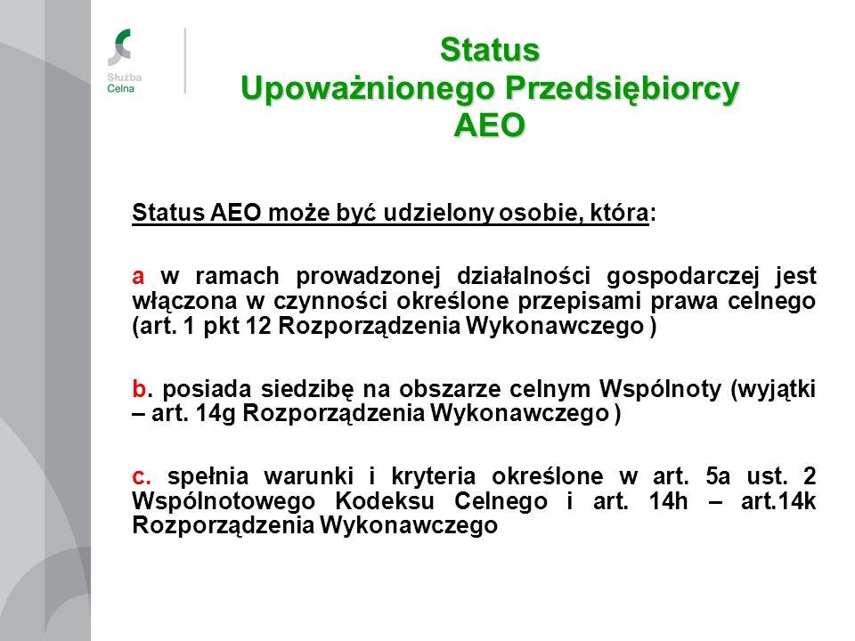 Status Upoważnionego Przedsiębiorcy AEO
