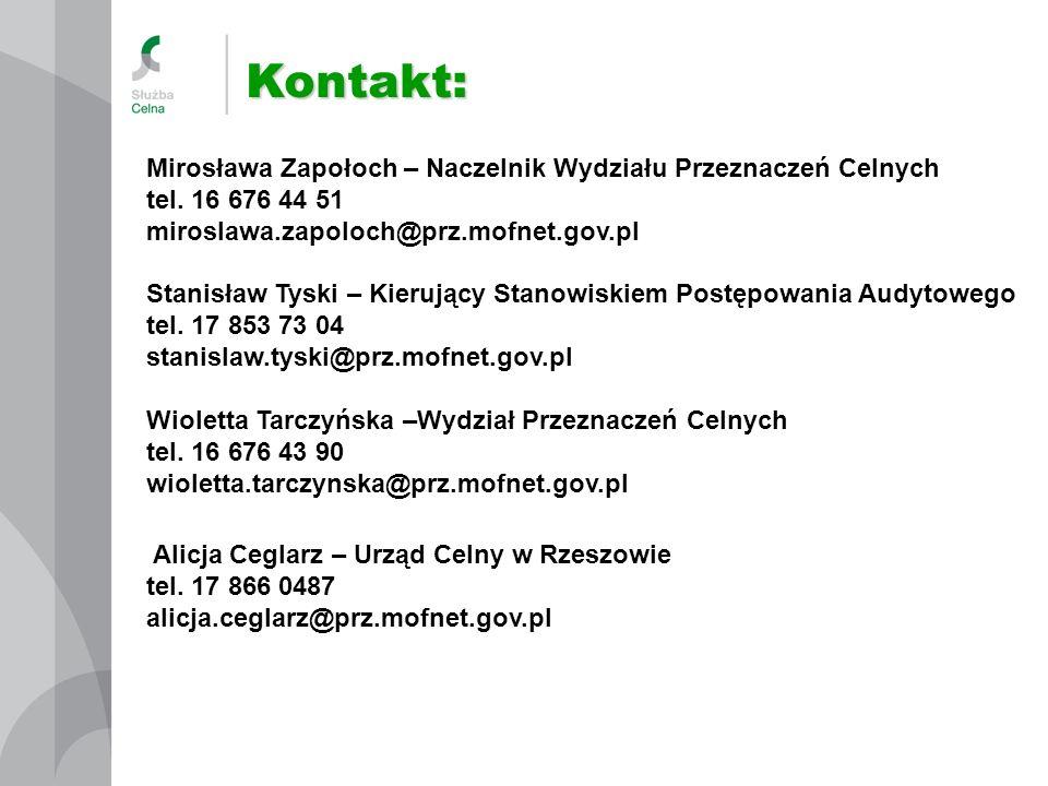 Kontakt: Mirosława Zapołoch – Naczelnik Wydziału Przeznaczeń Celnych