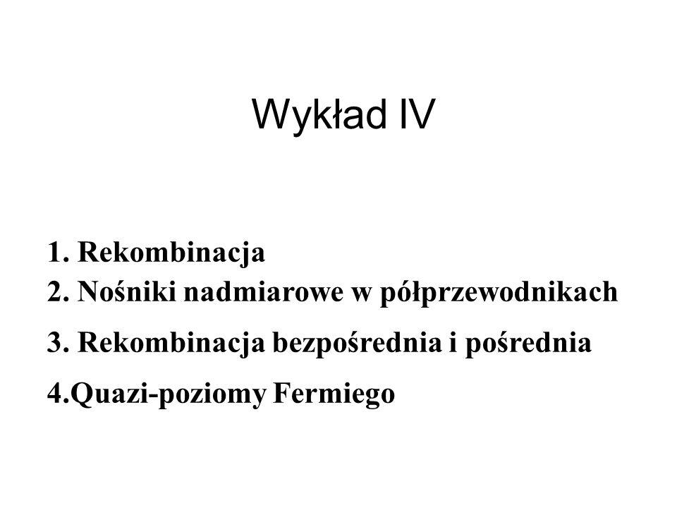 Wykład IV 1. Rekombinacja 2. Nośniki nadmiarowe w półprzewodnikach