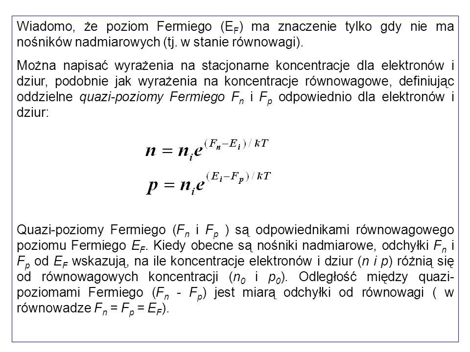 Wiadomo, że poziom Fermiego (EF) ma znaczenie tylko gdy nie ma nośników nadmiarowych (tj. w stanie równowagi).