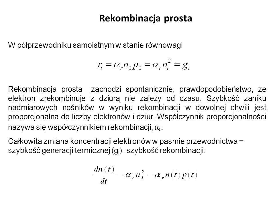 Rekombinacja prosta W półprzewodniku samoistnym w stanie równowagi