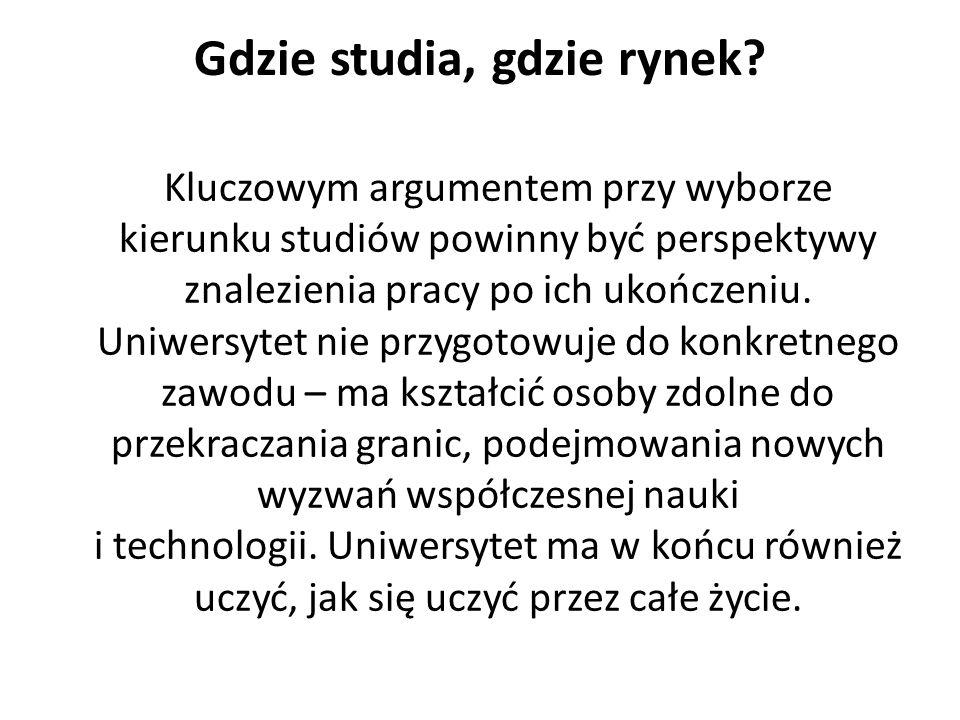 Gdzie studia, gdzie rynek