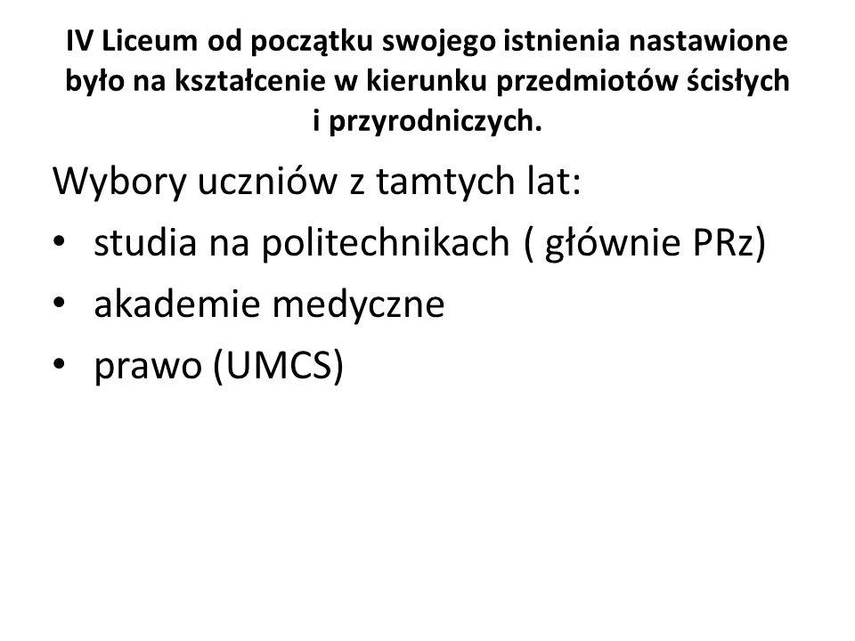 Wybory uczniów z tamtych lat: studia na politechnikach ( głównie PRz)