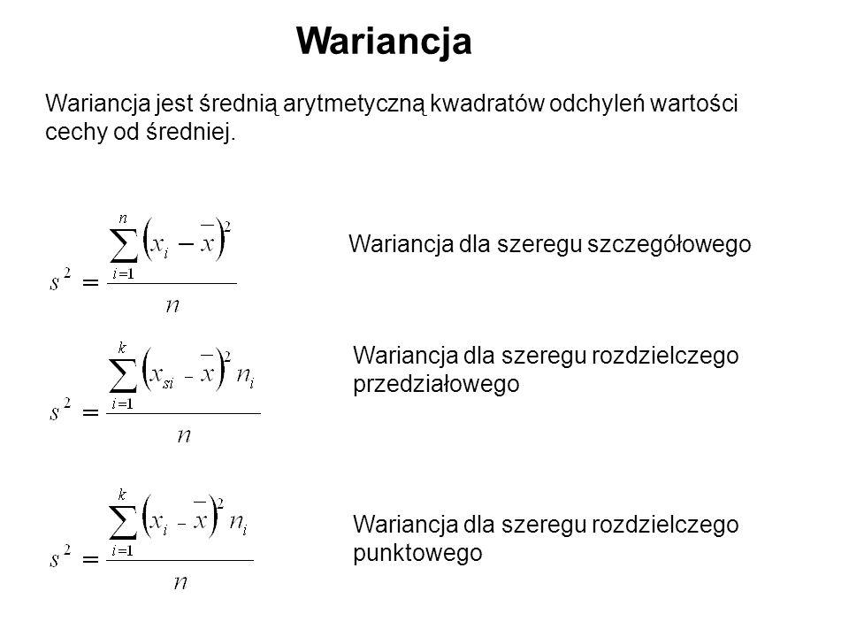 Wariancja Wariancja jest średnią arytmetyczną kwadratów odchyleń wartości. cechy od średniej. Wariancja dla szeregu szczegółowego.