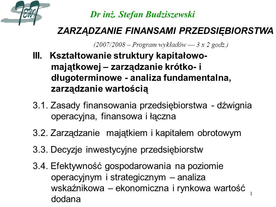 (2007/2008 – Program wykładów –– 3 x 2 godz.)