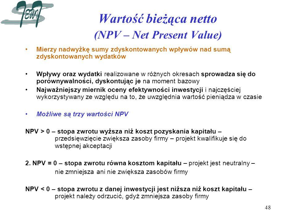 Wartość bieżąca netto (NPV – Net Present Value)