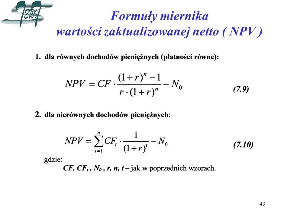 Formuły miernika wartości zaktualizowanej netto ( NPV )