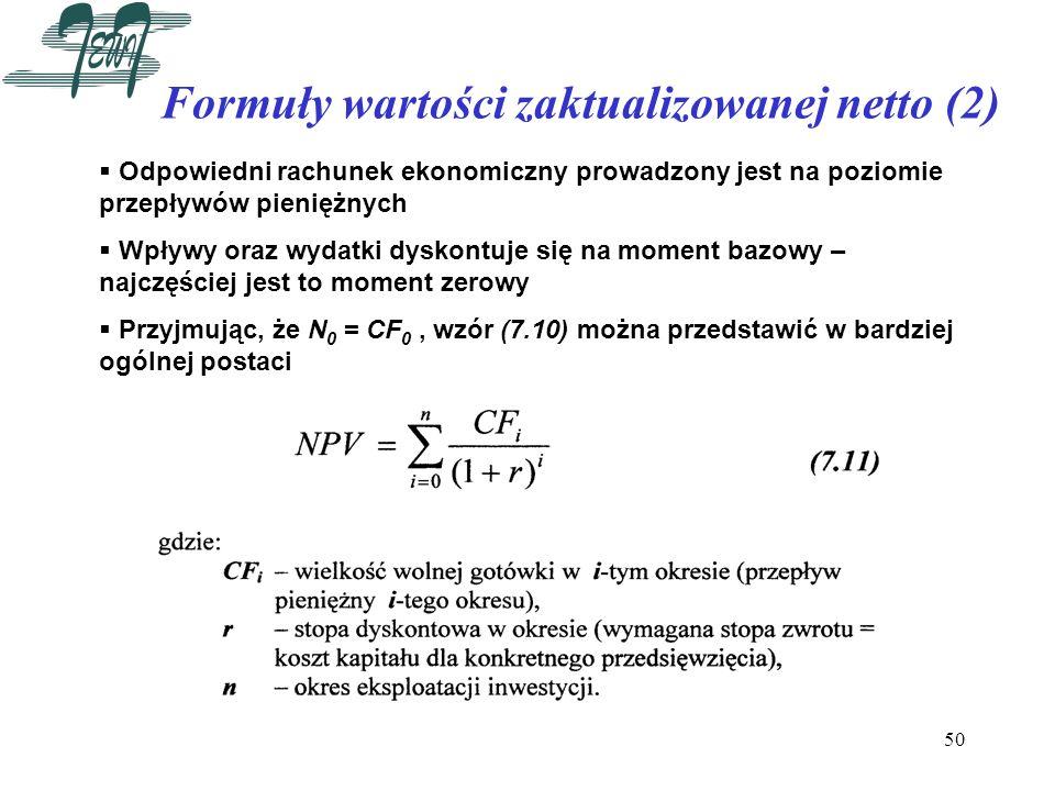 Formuły wartości zaktualizowanej netto (2)