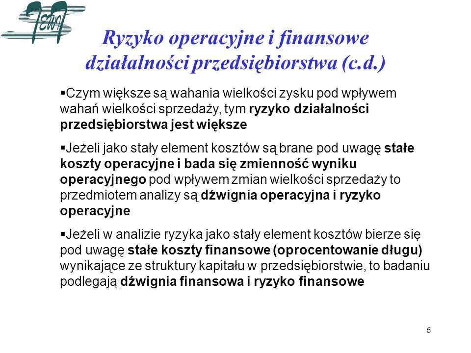 Ryzyko operacyjne i finansowe działalności przedsiębiorstwa (c.d.)