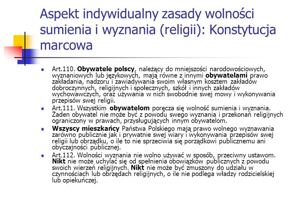 Aspekt indywidualny zasady wolności sumienia i wyznania (religii): Konstytucja marcowa