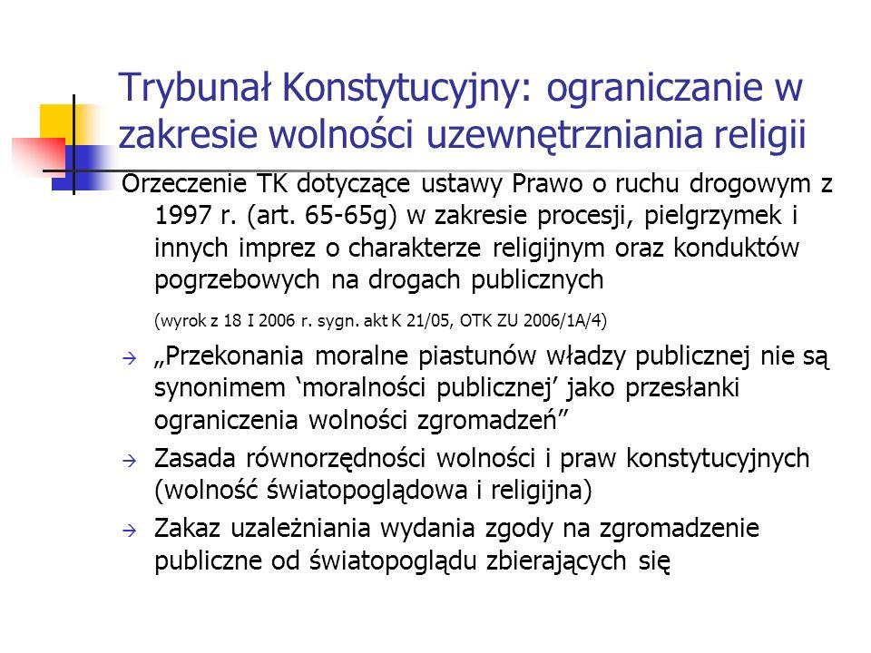 Trybunał Konstytucyjny: ograniczanie w zakresie wolności uzewnętrzniania religii