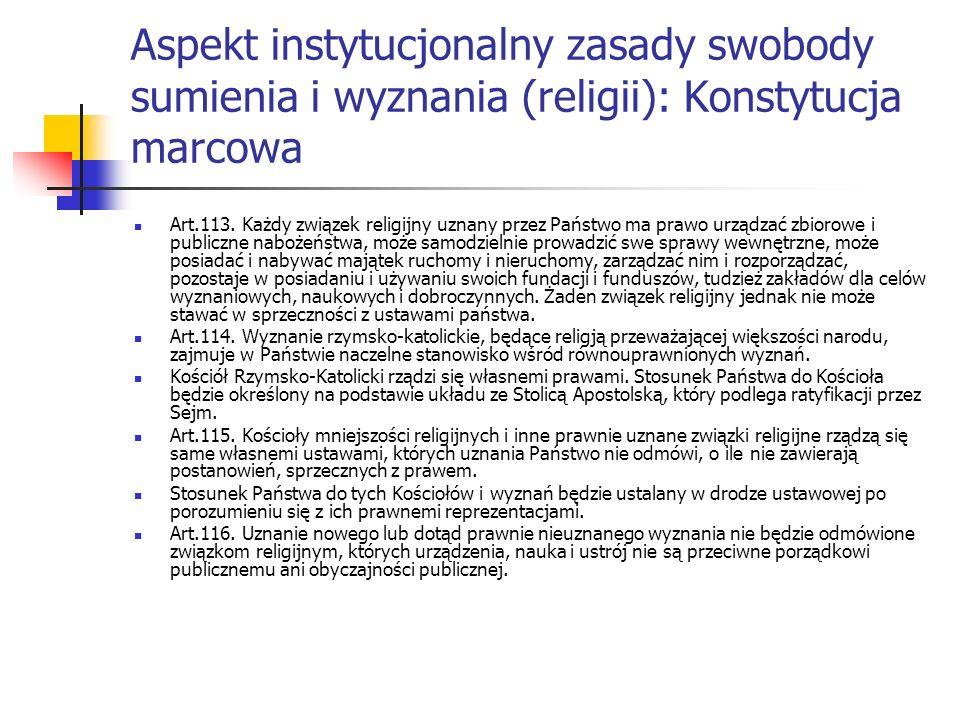 Aspekt instytucjonalny zasady swobody sumienia i wyznania (religii): Konstytucja marcowa