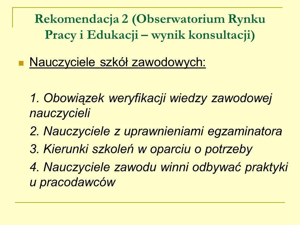 Rekomendacja 2 (Obserwatorium Rynku Pracy i Edukacji – wynik konsultacji)