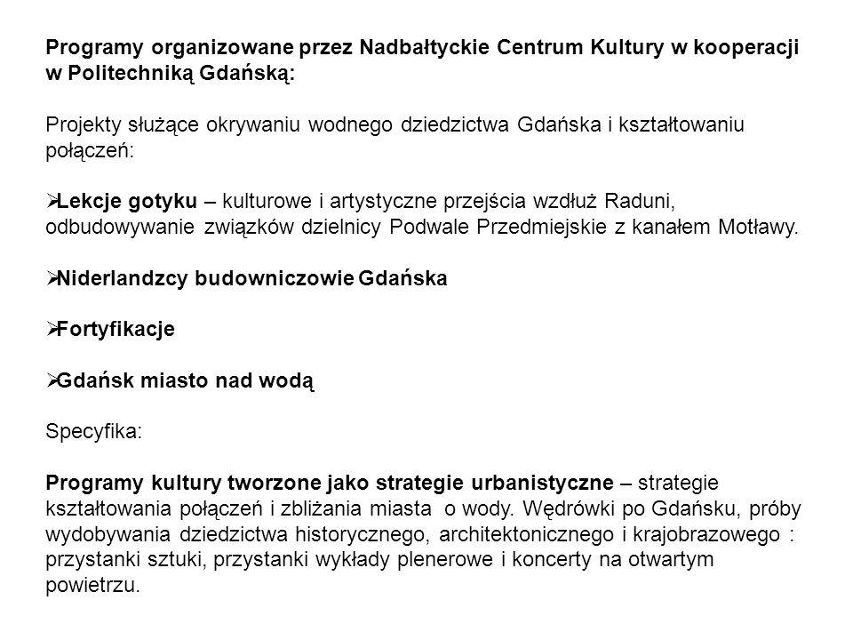 Programy organizowane przez Nadbałtyckie Centrum Kultury w kooperacji w Politechniką Gdańską:
