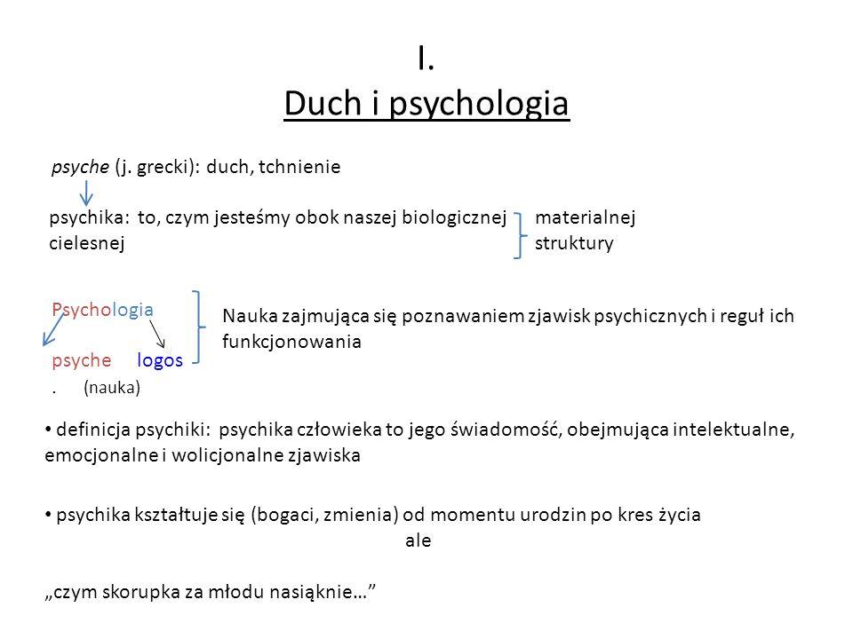 I. Duch i psychologia psyche (j. grecki): duch, tchnienie