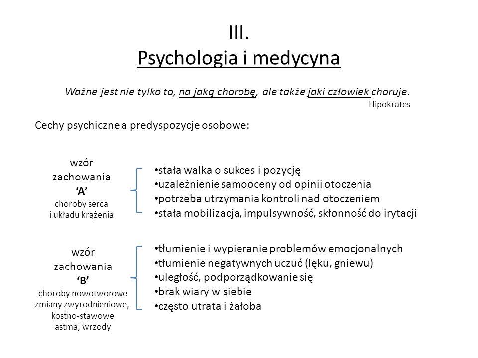III. Psychologia i medycyna