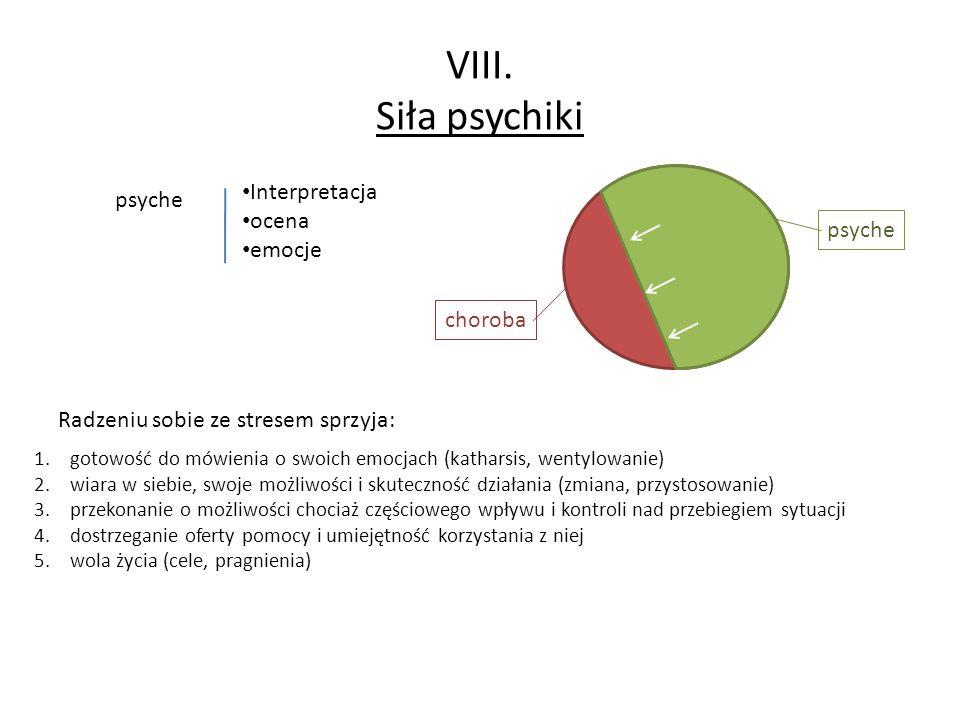 VIII. Siła psychiki Interpretacja psyche ocena emocje psyche choroba