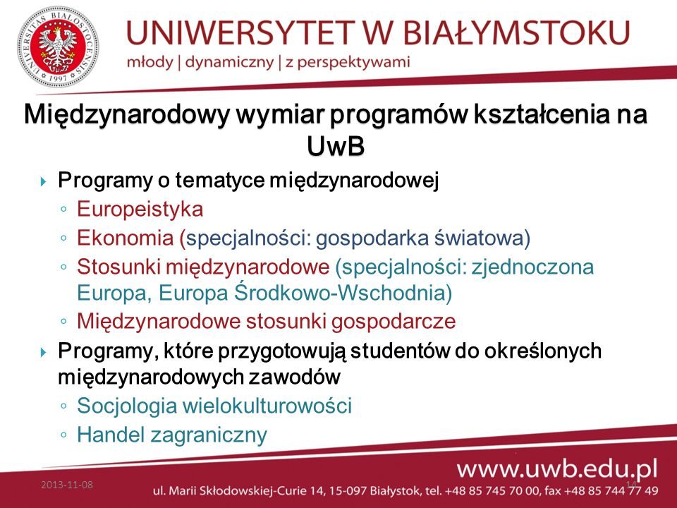 Międzynarodowy wymiar programów kształcenia na UwB