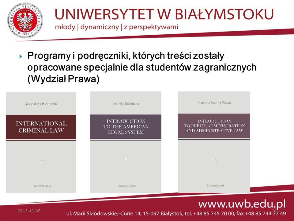 Programy i podręczniki, których treści zostały opracowane specjalnie dla studentów zagranicznych (Wydział Prawa)