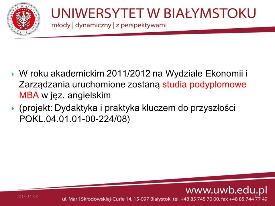 W roku akademickim 2011/2012 na Wydziale Ekonomii i Zarządzania uruchomione zostaną studia podyplomowe MBA w jęz. angielskim