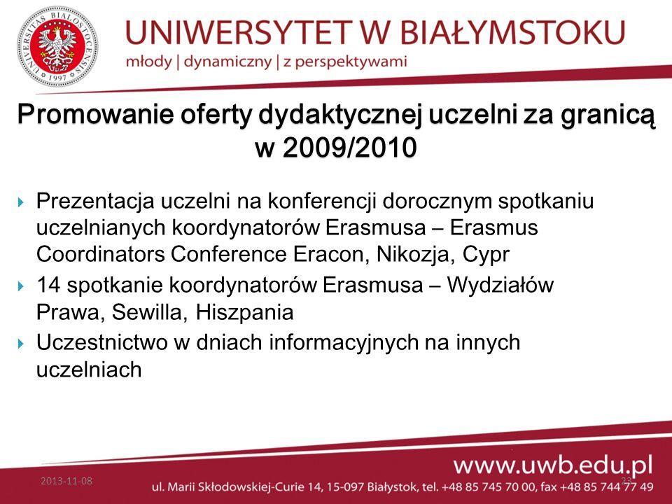 Promowanie oferty dydaktycznej uczelni za granicą w 2009/2010