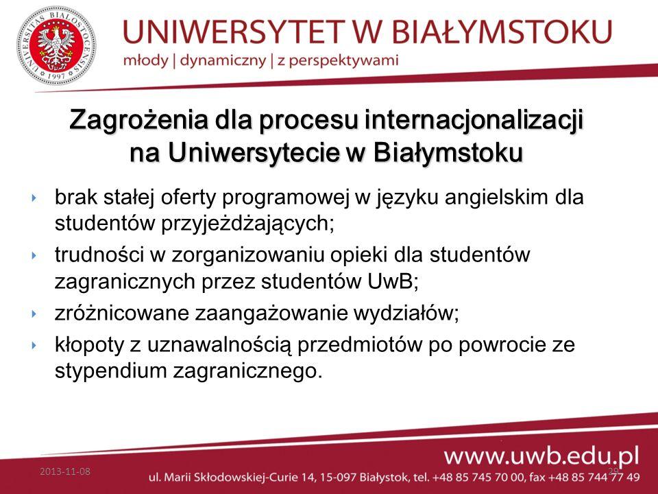 Zagrożenia dla procesu internacjonalizacji na Uniwersytecie w Białymstoku