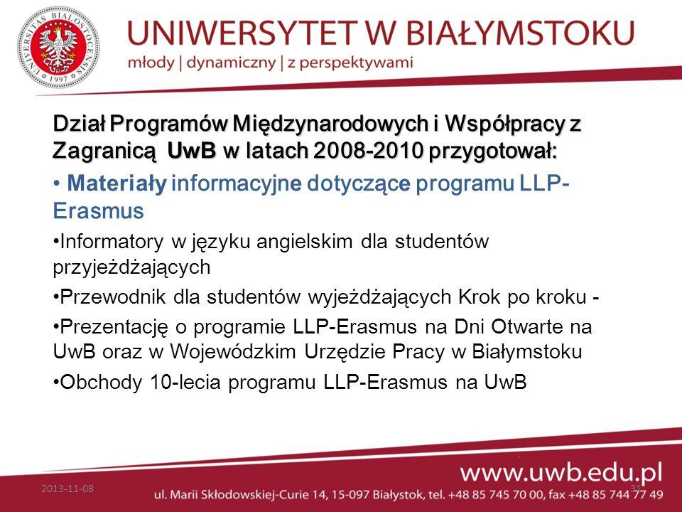 Materiały informacyjne dotyczące programu LLP- Erasmus