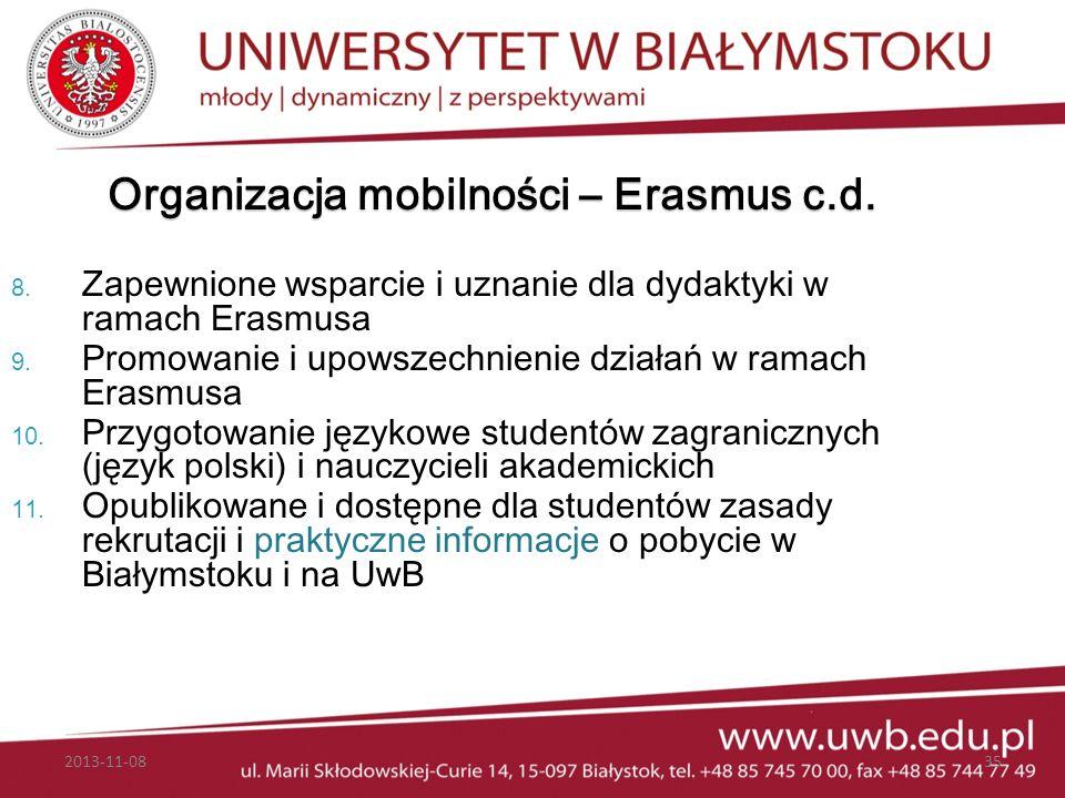 Organizacja mobilności – Erasmus c.d.