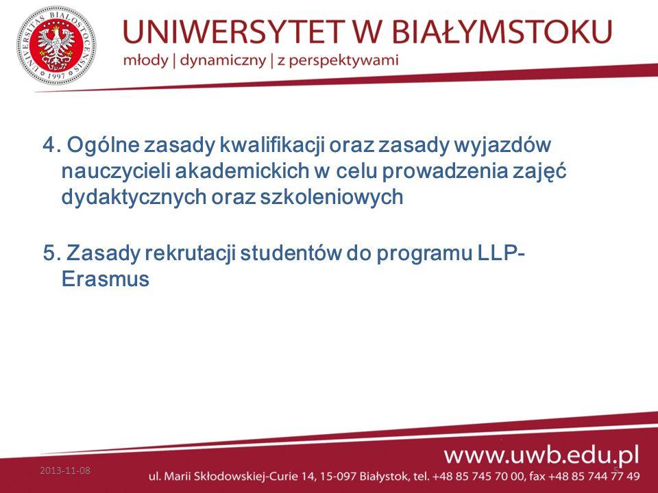 5. Zasady rekrutacji studentów do programu LLP-Erasmus