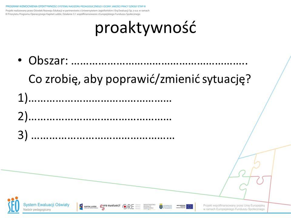 proaktywność Obszar: …………………………………………………..