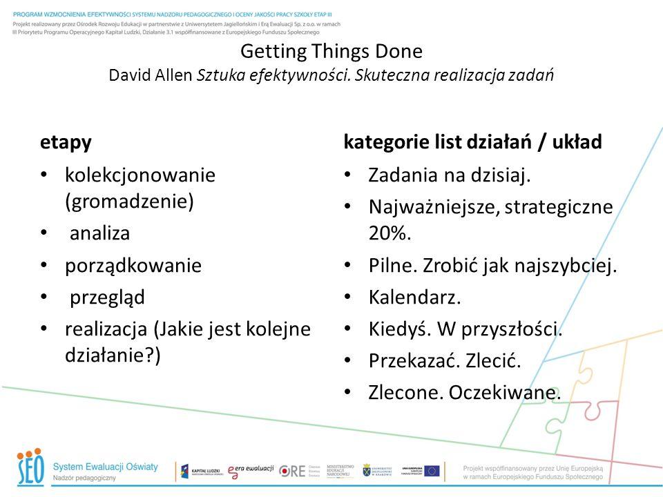 Getting Things Done David Allen Sztuka efektywności