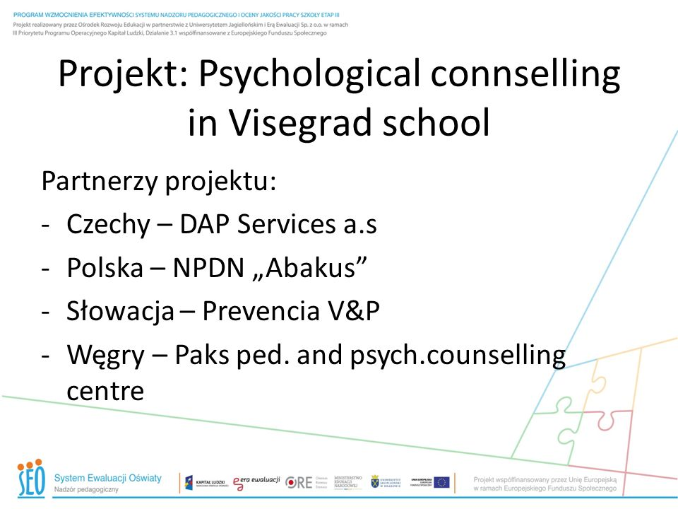 Projekt: Psychological connselling in Visegrad school