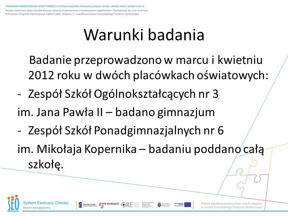 Warunki badania Badanie przeprowadzono w marcu i kwietniu 2012 roku w dwóch placówkach oświatowych: