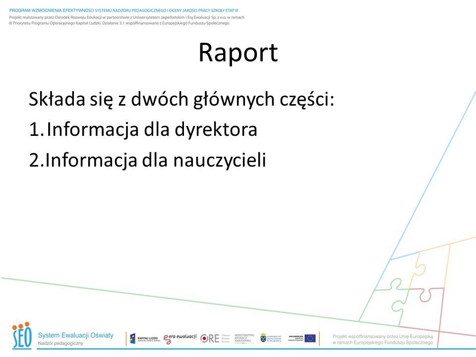 Raport Składa się z dwóch głównych części: Informacja dla dyrektora