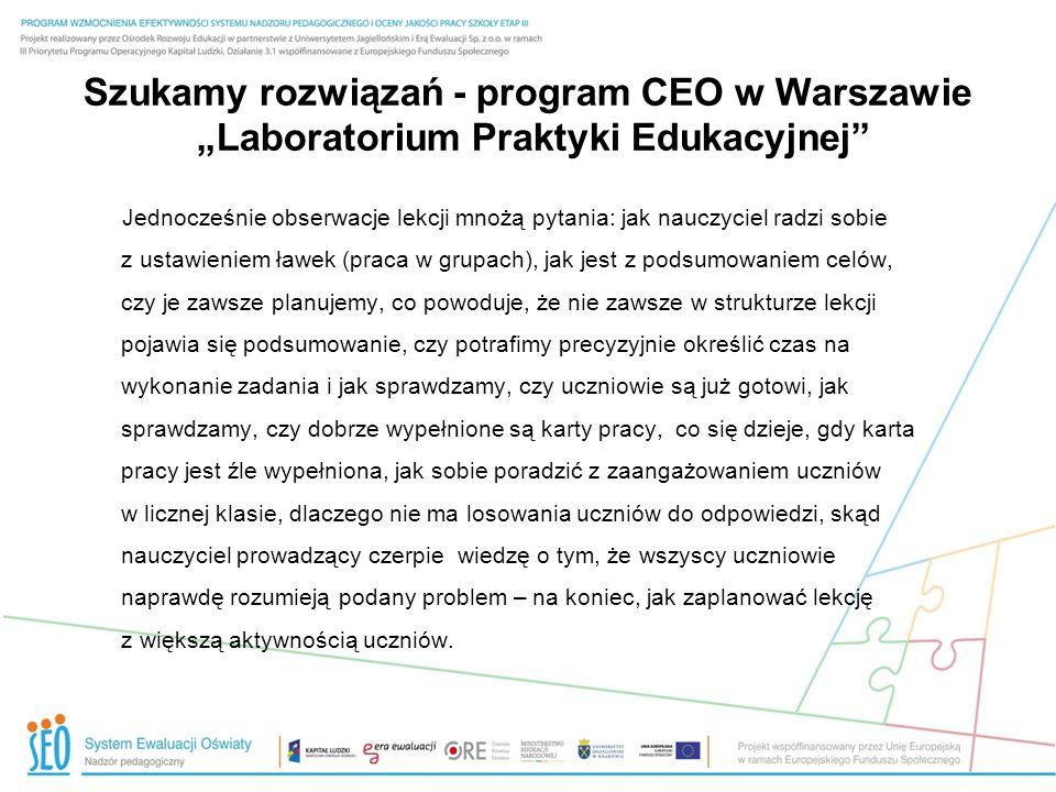 """21.03.13 Szukamy rozwiązań - program CEO w Warszawie """"Laboratorium Praktyki Edukacyjnej"""