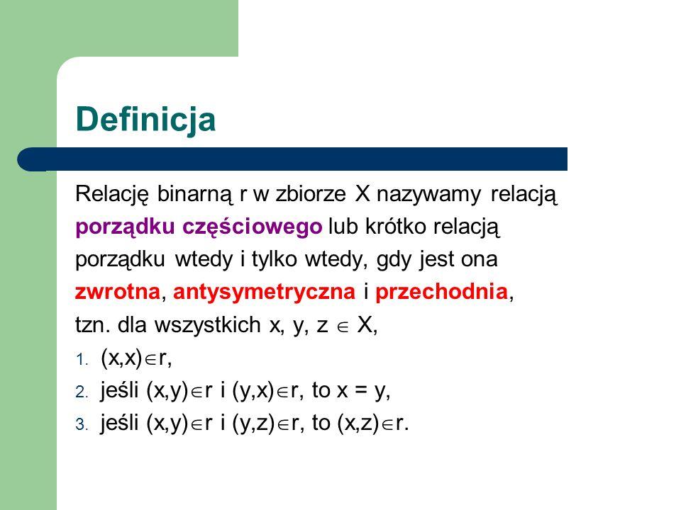 Definicja Relację binarną r w zbiorze X nazywamy relacją