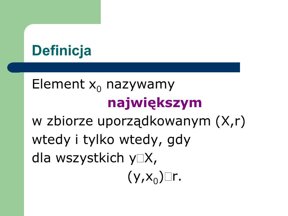 Definicja Element x0 nazywamy największym